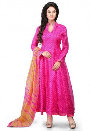 Printed Pure Kota Silk Abaya Style Suit in Fuchsia