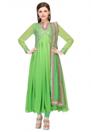 Embroidered Georgette Anarkali Suit in Green