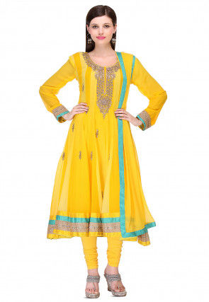 Embroidered Georgette Anarkali Suit in Yellow