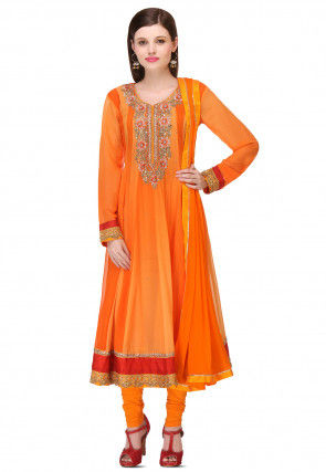 Embroidered Georgette Anarkali Suit in Orange
