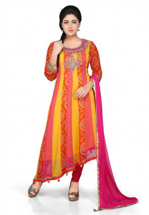 Embroidered Georgette Asymmetric Anarkali Suit in Multicolor