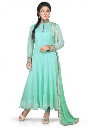 Plain Georgette Anarkali Suit in Pastel Green