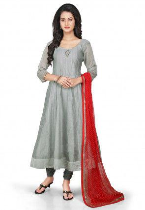 Plain Chanderi Silk Anarkali Suit in Grey