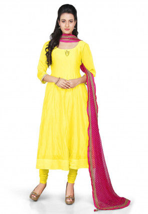 Plain Chanderi Silk Anarkali Suit in Yellow