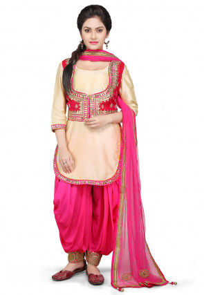Embroidered Cotton Silk Jacket Style Punjabi Suit in Beige