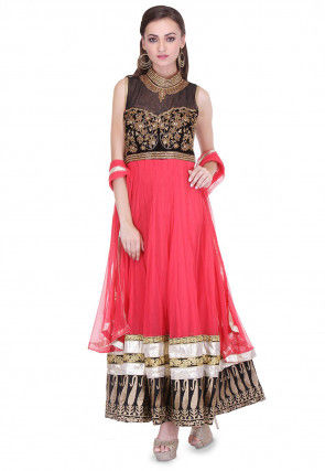 Embroidered Abaya Style Net Suit in Coral