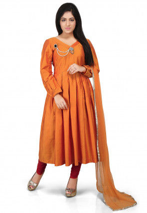 Plain Cotton Silk Anarkali Suit in Orange