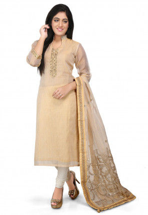 Plain Pure Kota Silk Straight Cut Suit in Beige