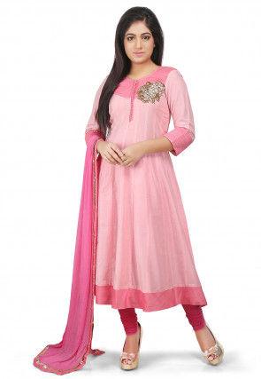 Plain Cotton Silk Anarkali Suit in Pink