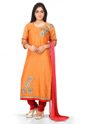 Embroidered Cotton Chanderi Pakistani Suit in Orange