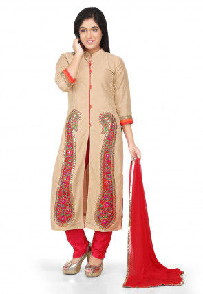 Embroidered Cotton Silk Front Slit Pakistani Suit in Beige