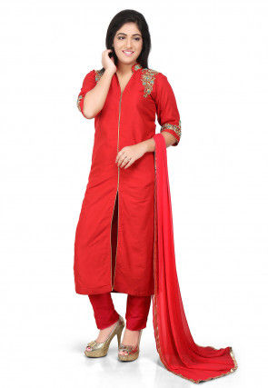 Embroidered Cotton Silk Front Slit Pakistani Suit in Red