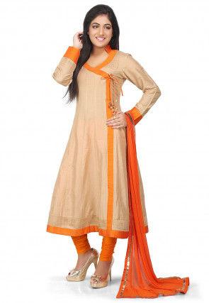 Plain Cotton Silk Angrakha Style Anarkali Suit in Beige