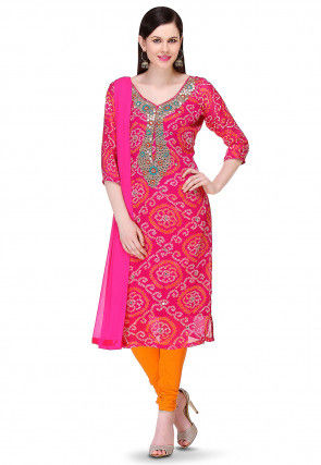 Embroidered Bandhej Pure Chinon Crepe Straight Cut Suit in Fuchsia