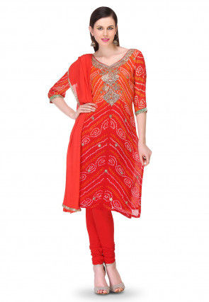 Embroidered Bandhej Pure Chinon Crepe Straight Cut Suit in Red