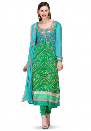 Bandhej Printed Pure Chinon Crepe Straight Cut Suit in Ombre Green