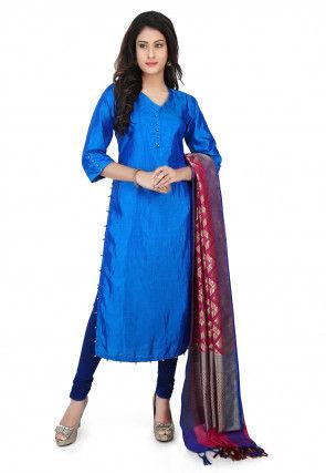 Banarasi Silk Straight Suit in Blue