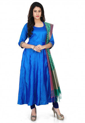 Banarasi Silk Anarkali Suit in Blue