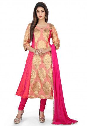 Woven Banarsi Silk Pakistani Suit in Pink