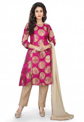 Banarasi Silk Front Slit Straight Cut Suit in Fuchsia