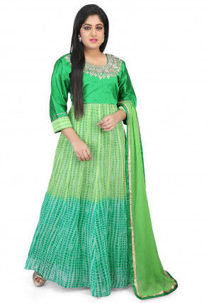 Shibori Dyed Georgette Abaya Style Suit in Shaded Green