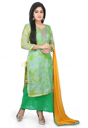 Pure Kota Silk Layered Straight Suit in Pastel Green