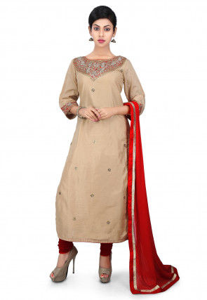 Gota Patti Embroidered Cotton Silk Straight Suit in Beige