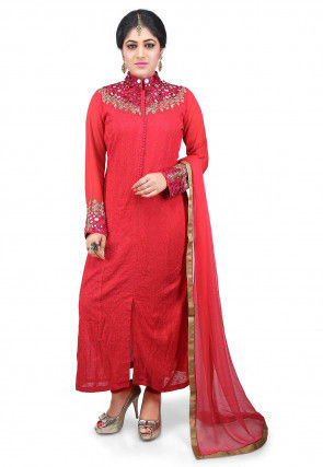 Hand Embroidered Georgette Straight Suit in Red