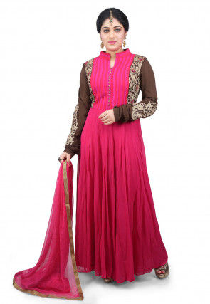 Hand Embroidered Georgette Abaya Style Suit in Fuchsia