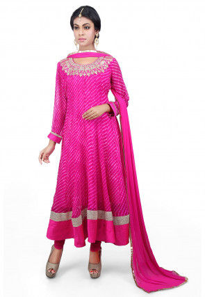 Pure Georgette Lehariya Anarkali Suit in Fuchsia