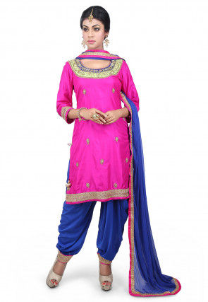 Hand Embroidered Art Silk Punjabi Suit in Fuchsia