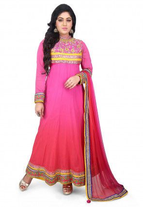 Gota Patti Georgette Abaya Style Suit in Pink Ombre