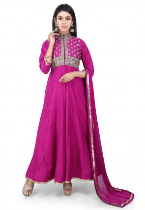 Embroidered Cotton Silk Jacket Style Anarkali Suit in Magenta