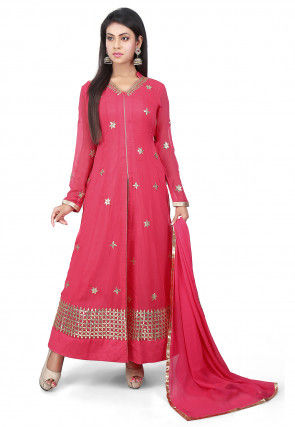 Embroidered Georgette Jacket Style Abaya Suit in Coral