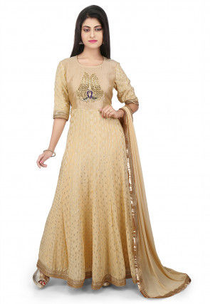 Embroidered Chinon Crepe Jacquard Abaya Style Suit in Beige