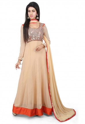 Embroidered Georgette Abaya Style Suit in Beige