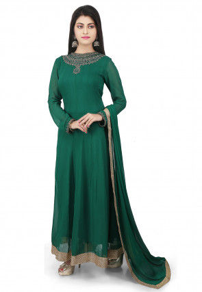 Plain Georgette Abaya Style Suit in Green