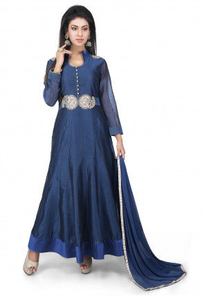 Embroidered Chanderi Cotton Anarkali Suit in Dark Blue