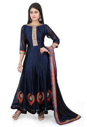 Embroidered Chanderi Cotton Jacket Style Abaya Suit in Blue