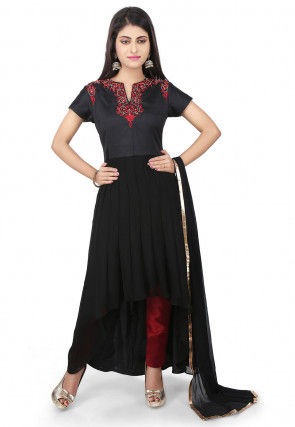 Embroidered Georgette Asymmetric A line Suit in Black