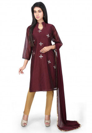 Embroidered Chanderi Cotton Straight Suit in Brown