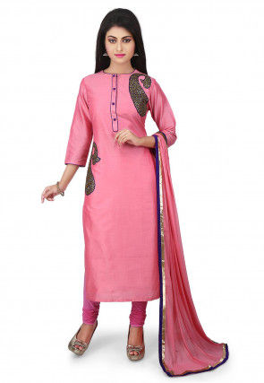 Embroidered Cotton Silk Straight Suit in Pink
