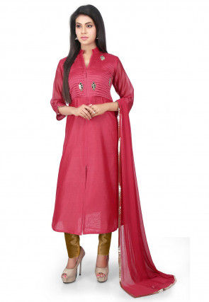 Tucks Chanderi Cotton Front Slit Straight Suit in Coral Pink