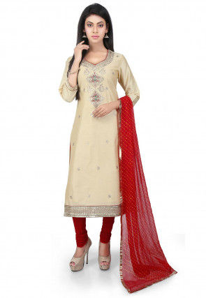 Hand Embroidered Cotton Silk Straight Suit in Light Beige