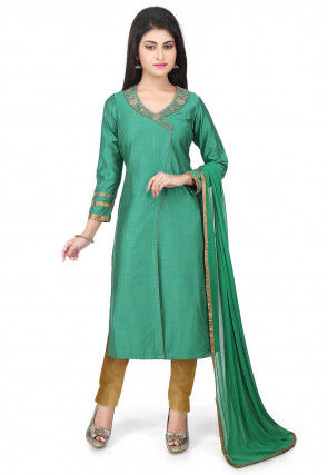 Embroidered Neckline Cotton Silk Angrakha Style Suit Green