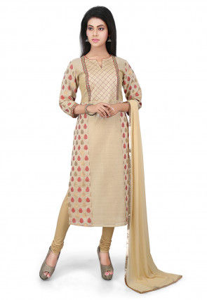 Woven Chanderi Cotton Straight Cut Suit in Beige