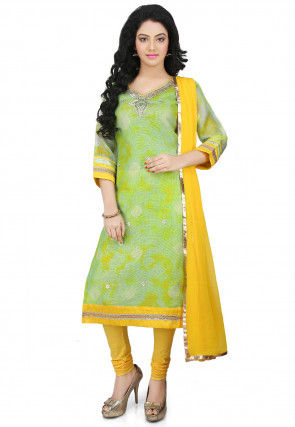 Tie N Dye Pure Kota Silk Straight Cut Suit in Green