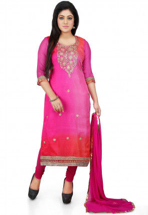 Embroidered Pure Kota Silk Straight Cut Suit in Pink
