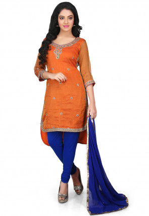 Embroidered Pure Kota Silk High Low Straight Cut Suit in Orange