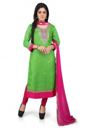 Embroidered Pure Kota Silk Straight Cut Suit in Green